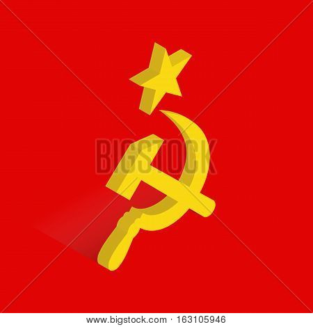 Isometric icon of hammer and sickle, international communist symbol, USSR flag icon, vector illustration in 3D flat style. Editable design element for banner, website, poster card, collage