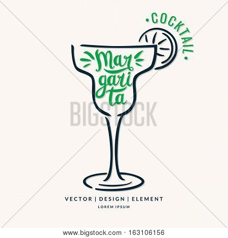 Modern hand drawn lettering label for alcohol cocktail Margarita. Calligraphy brush and ink. Handwritten inscriptions for layout and template. Vector illustration of text.