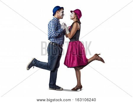 Happy couple of mimes isolated on white background. Love, romance concept