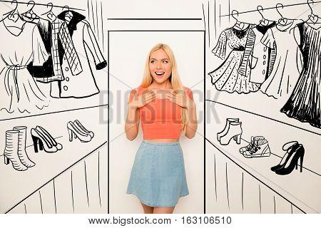 Portrait Of Cute Happy Cheerful Surprised Woman In Drawn Wonder Wardrobe