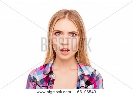 Portrait Of Shocked Young Blonde Woman With Opened Mouth