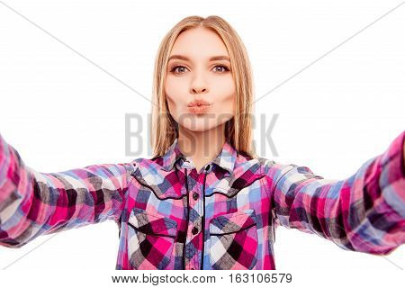 Pretty Happy Young Woman Making Selfie And Pouting