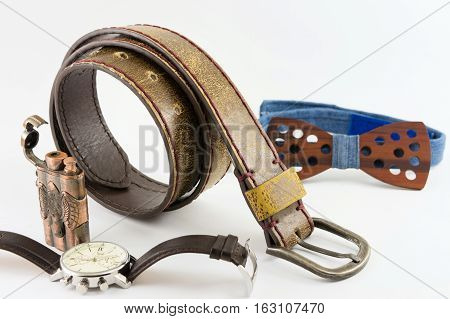 Modern man accesories in brown color tone