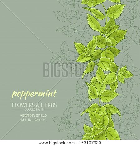 peppermint leaves vertical vector pattern on color background