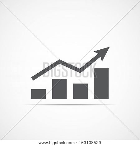 Growing bar graph icon with rising arrow. Financial forecast graph. Gray graphic icon. Vector illustration.
