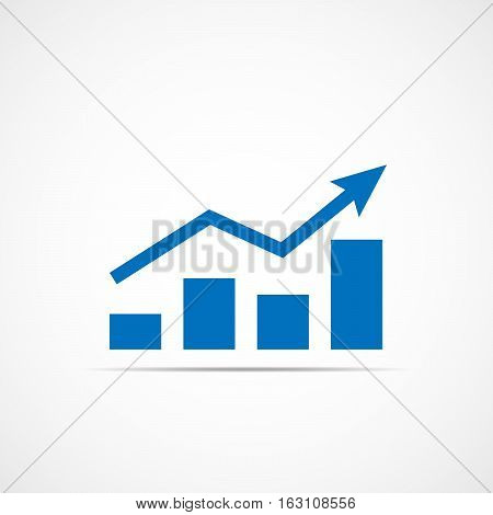 Growing bar graph icon with rising arrow. Financial forecast graph. Blue graphic icon. Vector illustration.