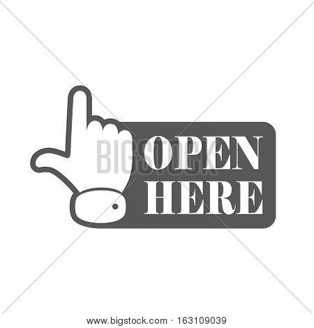 Open here sign with hand icon and with text. Gray open here icon. Vector illustration.