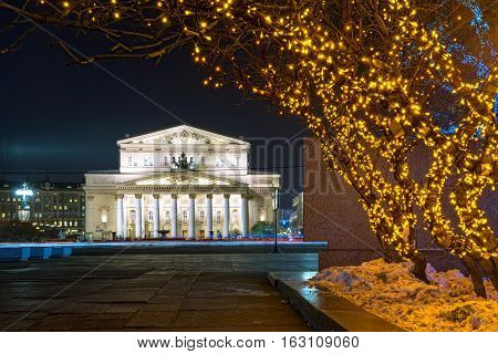 Bolshoi Theater at night in the Christmas