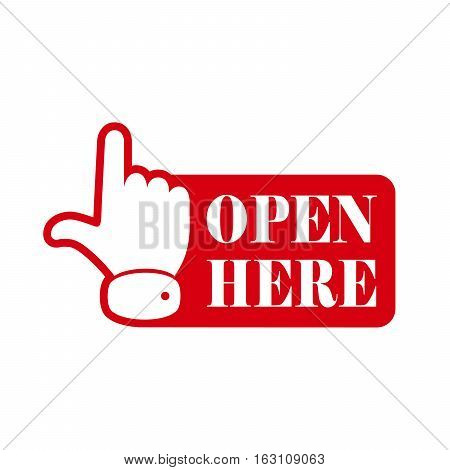 Open here sign with hand icon and with text. Red open here icon. Vector illustration.