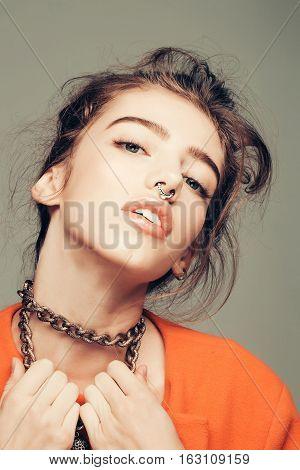 Pretty Girl With Metallic Chain
