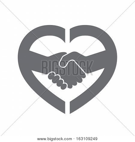 Abstract gray handshake icon. Handshake sign inside in the heart on white background. Vector illustration.