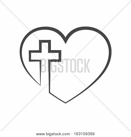 Christian cross icon in the heart inside. Black christian cross sign isolated on light background. Vector illustration. Christian symbol.