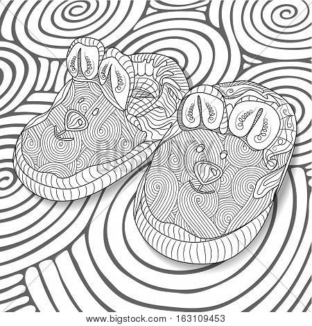 Doodle sketch of baby bootees in black and white zentangle design. Coloring book for adult and older children. Hand drawn vector illustration.