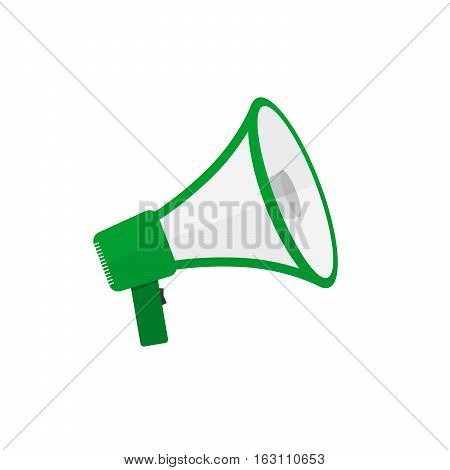 Loudspeaker or megaphone icon. Green megaphone isolated on white background. Vector illustration