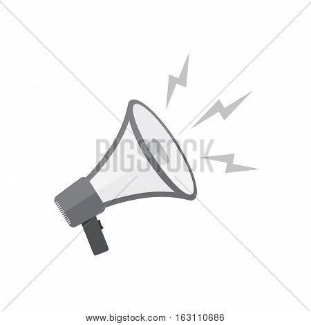 Loudspeaker or megaphone icon. Gray megaphone isolated on white background. Vector illustration