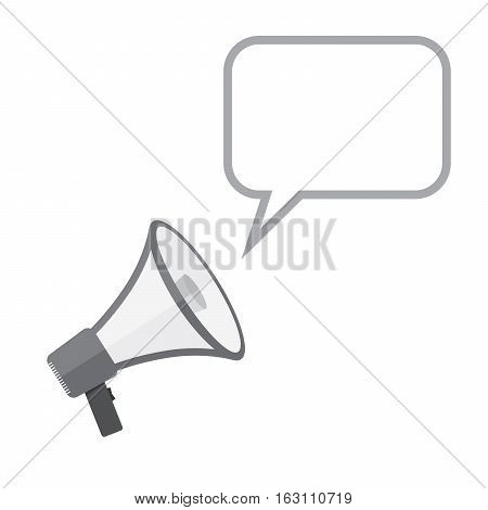 Loudspeaker or megaphone icon. Gray megaphone with speech bubble isolated on white background. Vector illustration