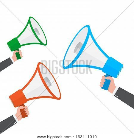 Loudspeaker or megaphone icon. Set of colored megaphones in hand isolated on white background. Vector illustration.
