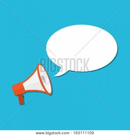 Loudspeaker or megaphone icon. Red megaphone with blank speech bubble on blue background. Vector illustration.