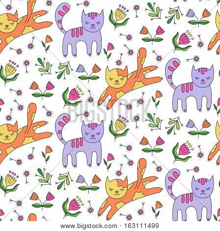 Charming cute cats in the garden seamless vector pattern