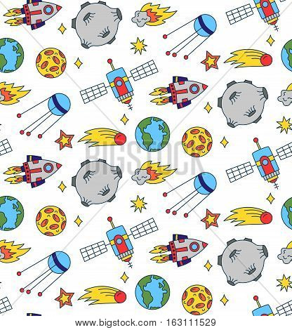 Cute funny colorful outer space doodles seamless vector pattern