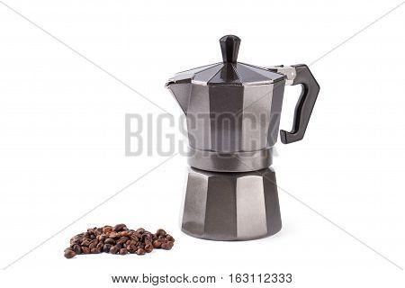 Moka coffee pot. Metal italian espresso maker isolated on white background.