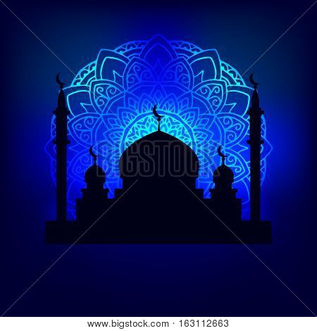 vector illustration silhouette of the Arab temple in the night sky illuminated pattern mandala moonlight
