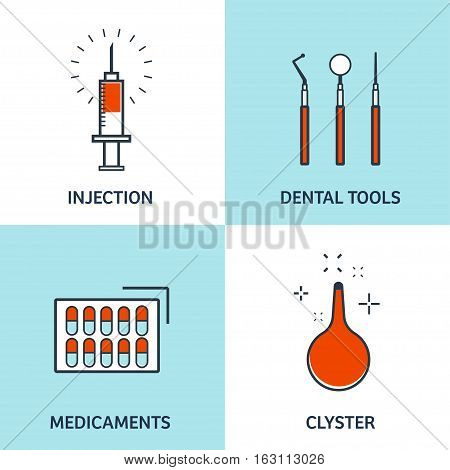 Vector illustration. Flat medical background. Health care, first aid, research, cardiology. Medicine, study. Chemical engineering, pharmacy. Outline, lined.