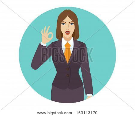 OK! Smiling businesswoman show a okay hand sign. Portrait of businesswoman in a flat style. Vector illustration.