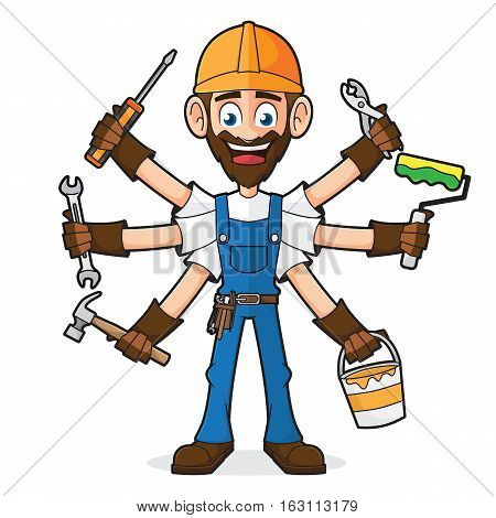 Handyman Holding Tools Isolated In White Background
