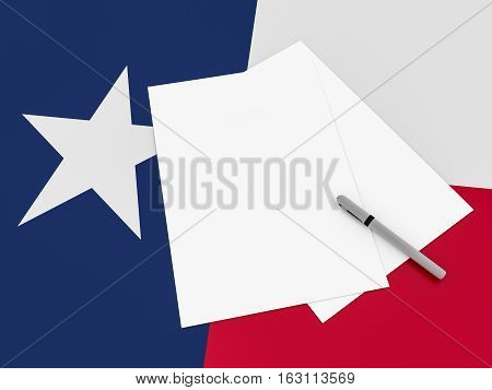 Notes On Texas: Blank Sheets of Paper With A Pen On Texan Flag 3d illustration