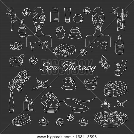 Spa hand drawn doodle icons. Vector illustrations of Beautiful woman spa treatment, relaxing while stone massage, beauty procedures, wellness.