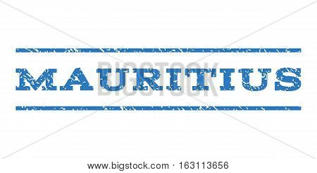 Mauritius watermark stamp. Text caption between horizontal parallel lines with grunge design style. Rubber seal stamp with dirty texture. Vector smooth blue color ink imprint on a white background.