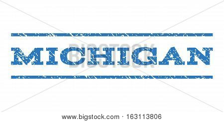 Michigan watermark stamp. Text caption between horizontal parallel lines with grunge design style. Rubber seal stamp with unclean texture. Vector smooth blue color ink imprint on a white background.