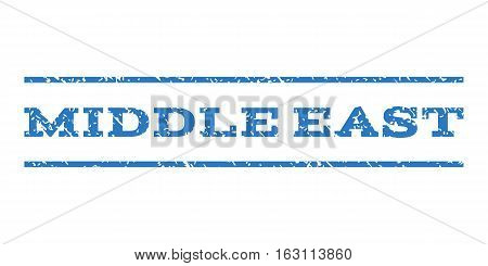 Middle East watermark stamp. Text tag between horizontal parallel lines with grunge design style. Rubber seal stamp with dirty texture. Vector smooth blue color ink imprint on a white background.