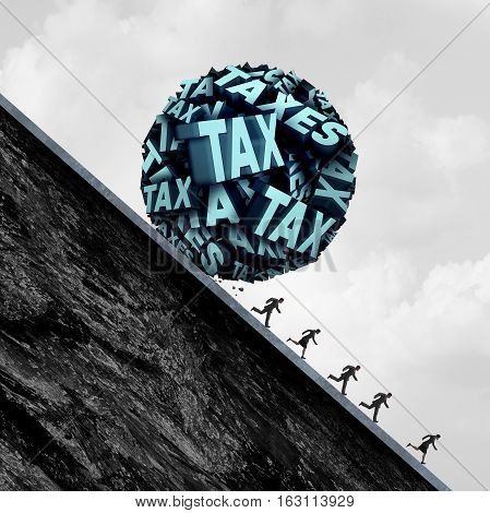 Tax stress concept and taxation stress symbol as a group of text shaped as a ball rolling down a hill towards people as a metaphor for accounting and bookkeeping panic with 3D illustration elements.