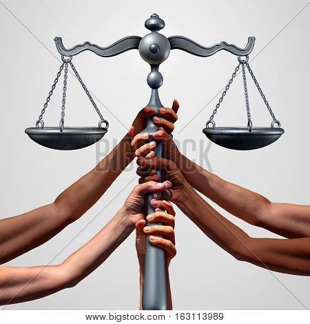 Social justice concept or class action lawsuit as a group of diverse ethnic people hands holding a court law scale as a metaphor for global equity and equality in society with 3D illustration elements.