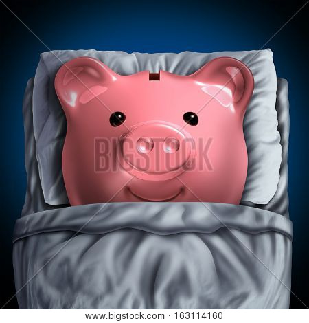 Inactive savings banking account symbol as a piggy bank resting in bed as a dormant unclaimed financial investment metaphor with 3D illustration elements.