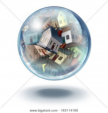 Housing bubble symbol and house buying and selling concept as an inflated balloon with a group of real estate homes in financial and mortgage danger with 3D illustration elements.