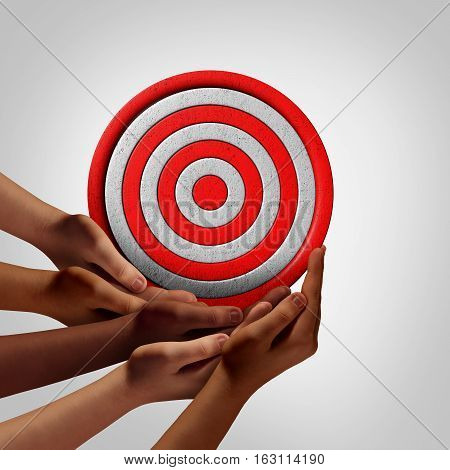 Goal of society objective as a group vision concept as a crowd of diverse ethnic people hands holding a circle target object as a social solution metaphor or with 3D illustration elements.