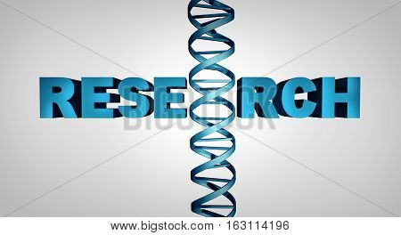 Genetic Biotechnology research symbol as text with a double helix structure as a biology science discovery concept and researching biotchemistry as a 3D illustration.