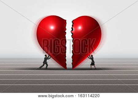 Fixing a relationship concept as a man and woman pushing a broken heart together as a romantic couple repairing thier love with 3D illustration elements.