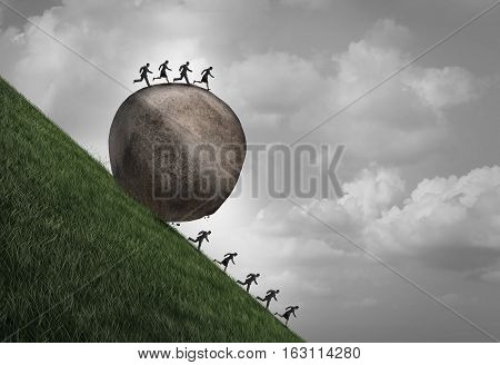 Employment inequality concept as a group of people running away from a rolling boulder with businesspeople on top as a metaphor for oppressive human resource work pressure with 3D illustration elements.