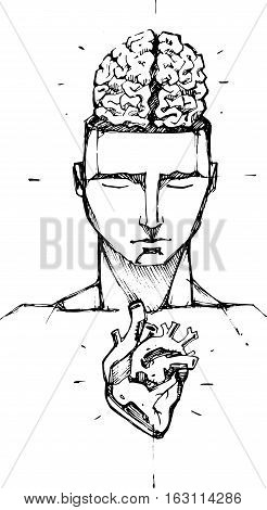 Hand drawn vector illustration or drawing of a man with a visible brain and heart