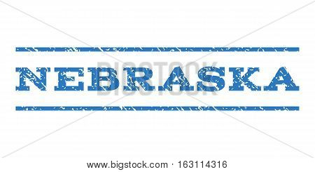 Nebraska watermark stamp. Text tag between horizontal parallel lines with grunge design style. Rubber seal stamp with scratched texture. Vector smooth blue color ink imprint on a white background.