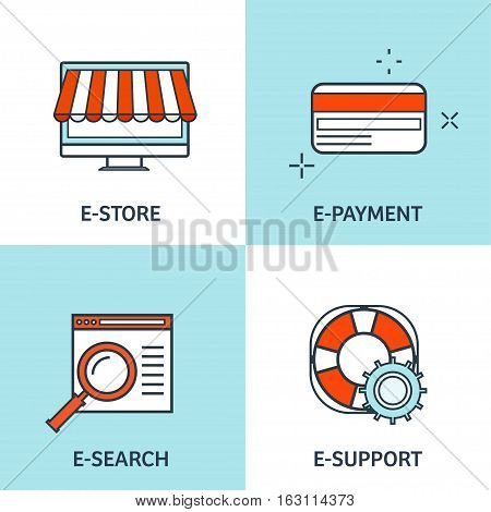 Vector illustration. Set of flat backgrounds with lined borders. Internet browsing, app development. Web surfing, global communication. Storage, database. Online banking.
