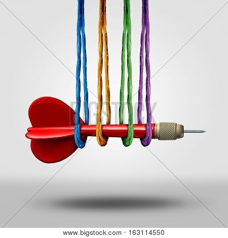 Teamwork target goal concept and community goal support symbol as a dart being supported by a group of diverse ropes as a metaphor for business team or social focus guidance with 3D illustration elements.