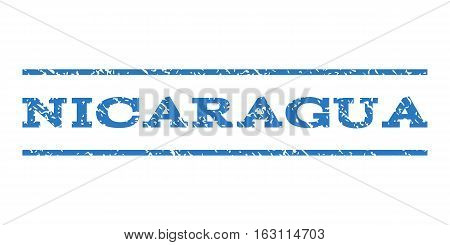 Nicaragua watermark stamp. Text caption between horizontal parallel lines with grunge design style. Rubber seal stamp with unclean texture. Vector smooth blue color ink imprint on a white background.
