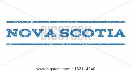 Nova Scotia watermark stamp. Text caption between horizontal parallel lines with grunge design style. Rubber seal stamp with dust texture. Vector smooth blue color ink imprint on a white background.