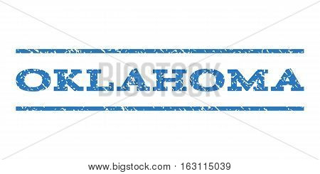 Oklahoma watermark stamp. Text tag between horizontal parallel lines with grunge design style. Rubber seal stamp with dirty texture. Vector smooth blue color ink imprint on a white background.