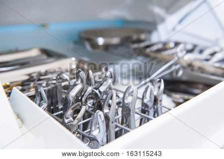 Close-up Of Chamber For Sterile Storage Of Medical And Surgical Tools In The Dentist's Office. Surge